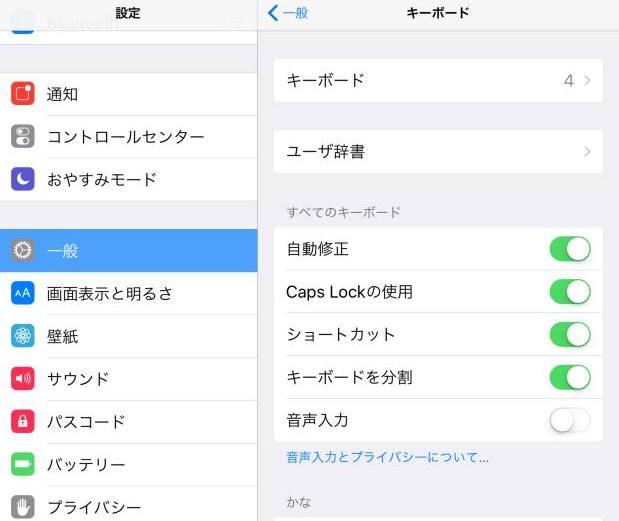 iPadの入力の設定