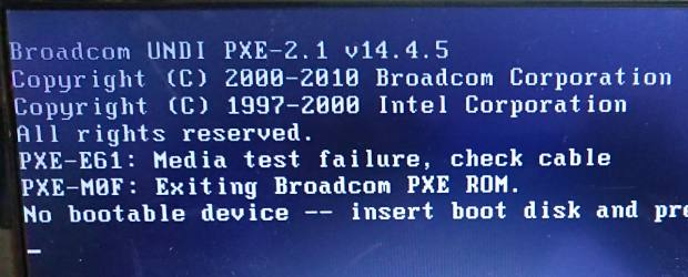 no bootable device