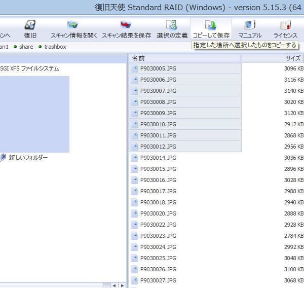 検出したファイルの復旧